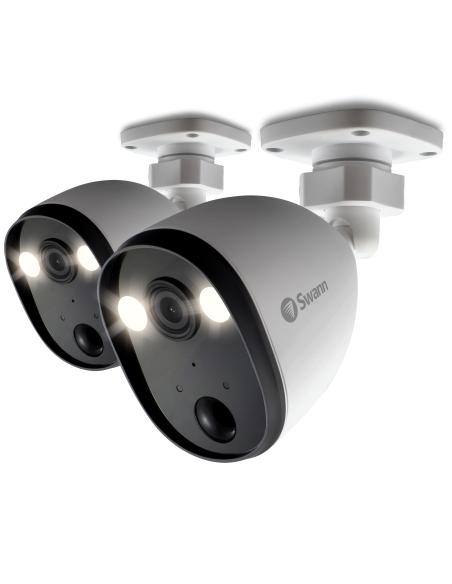 Swann Twin Pack 1080p Spotlight Outdoor 2-Way Talk & Siren Security Camera