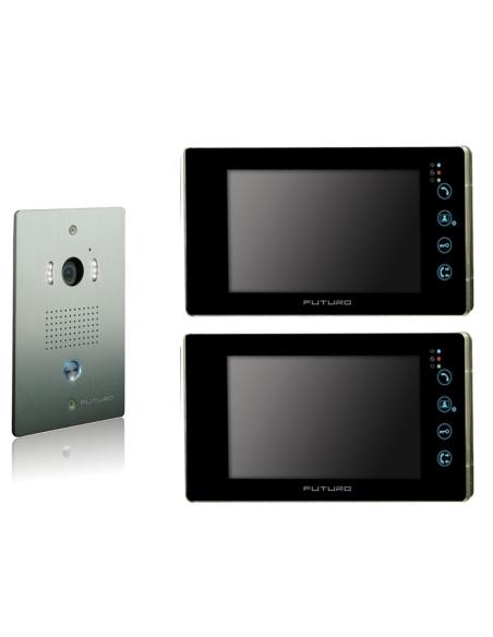 Futuro Video Intercom Kit with 2 x Black Recording Screens and Flush Mount CP4 Camera - FUT-112B-KIT-2XS-REC