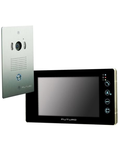 Futuro Video Intercom Kit with Black Recording Screen and Flush Mount CP4 Camera - FUT-112B-KIT