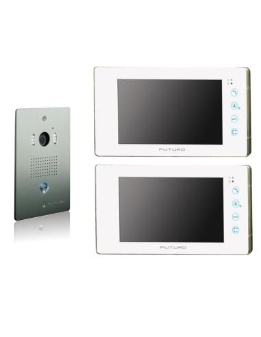 Futuro Video Intercom Kit with 2 x White Recording Screens and Flush Mount CP4 Camera - FUT-111W-KIT-2XS-REC