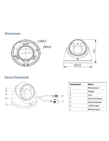 VIP Vision VSIP4MPVDIRME Professional Series 4.0MP Flat Glass Motorised Dome